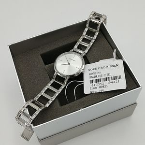 Calvin Klein Silver Dress Watch with Crystals